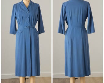 1940s Blue Shirtwaist Dress with Pockets | Lordleigh