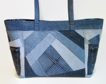 Extra Large Jean Tote Bag, Denim Blue Jean Crazy Quilt Patchwork Shoulder Bag, Upcycled  Recycled Repurposed Fabric Market All Purpose Bag