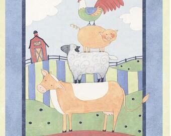 Susan Winget Down On The Farm Cotton Fabric Panel 36x43
