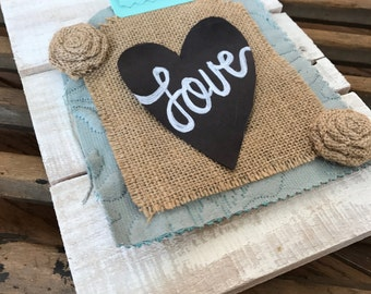 Reclaimed Pallet Wood 'Love' Sign White-Washed with Multi-Texture Elements