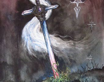 Dark Crystal Sword Fantasy Painting Original Art Watercolour Magical Weapon Gothic Art Dark Wall Art