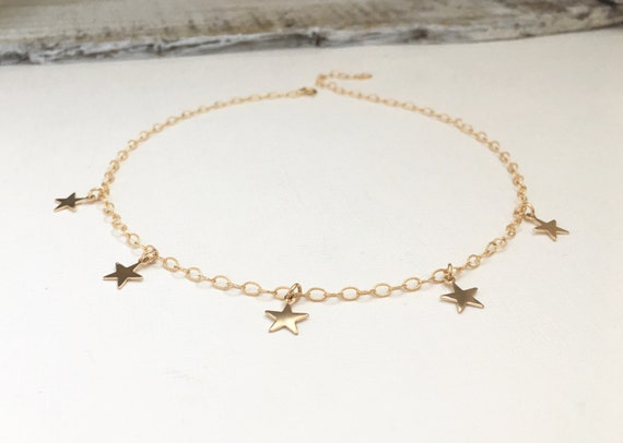Gold Filled Star Choker Necklace, Sterling Silver Star Necklace, Rose Gold Star Choker Necklace, Wedding Jewelry