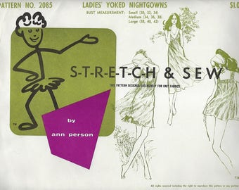 Stretch And Sew 2085 Ladies' Yoked Nightgowns By Ann Person  UNCUT