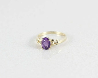14k Yellow Gold Purple Amethyst Ring Size 5 3/4