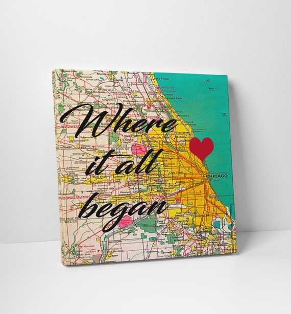 Chicago map Wedding Gift Personalized Chicago Framed Art Print Wedding ...