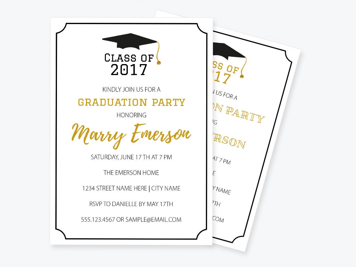 Graduation invitation pdf template class of printable for Graduation party checklist template