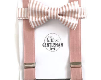 Boys dusty rose  bow tie and suspenders, rose quartz  suspenders set, baby suspenders, wedding bow tie set, Rose Gold Wedding, Ring Bearer