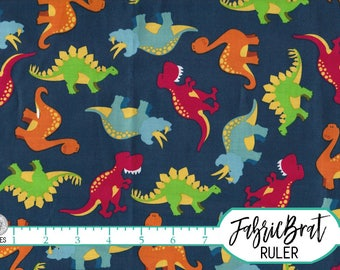 DINOSAUR Fabric by the Yard, Fat Quarter Dino Fabric Navy Blue Orange & Red Fabric Quilting Fabric Apparel Fabric 100% Cotton Fabric t6-33