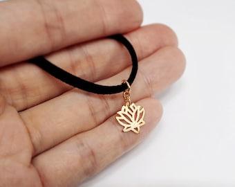 Black Choker, Lotus flower choker, Black Velvet Choker, Basic Velvet Choker,Simple Choker,choker necklace