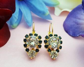 Sapphire and Diamond Earrings ~ Swarovski Montana Blue Earrings ~ Dark Blue Earrings ~ Navy Crystal Earrings ~ September Birthstone E3363