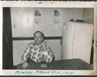 Vintage Photo Man Sitting at Kitchen Table Two Calendars on Wall Behind, 1950's Original Found Photo, Vernacular Photography