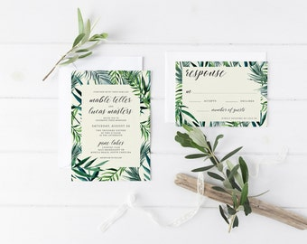 digital printable wedding suite 'lush' · wedding invitation set · calligraphy invitations · watercolor green palm leaf wedding invitations
