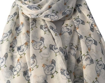 Cream Scarf with a Hen Print, Large Chickens Scarf , Ivory White Yellow Hens Chicken Wrap