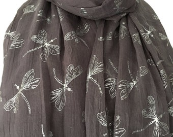 Grey Scarf with Silver Dragonfly Print, Ladies Dragonfly Pattern Wrap Shawl, Gray Scarf
