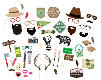 Camping Party Props - Photo Booth Props - Photo Props - Glamping - Birthday Party Props - Boys Birthday Party - The Adventure Begins-Wedding