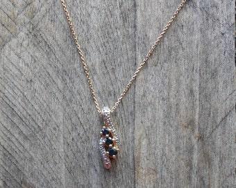 Genuine Deep Blue Sapphire & Diamond Necklace