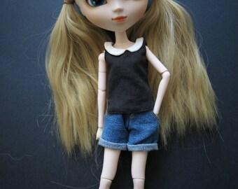 Black & White Collared Blouse for Pullip/Blythe/Barbie/Momoko