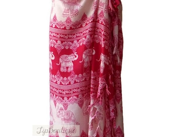 Elephant Beach Pool Wrap Pareo Sarong Swimsuit Wear Cover Large Scarf Shawl Gypsy Hippie Boho Women E02 Dark Pink