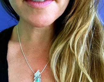 Silver Feather and Turquoise Pendant, Turquoise Jewelry, Feather Jewelry, southwest jewelry, feather necklace--made to order, small or large