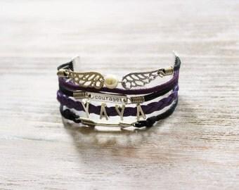 Wings Courage YAYA Arrow Purple Black Cord Bracelet