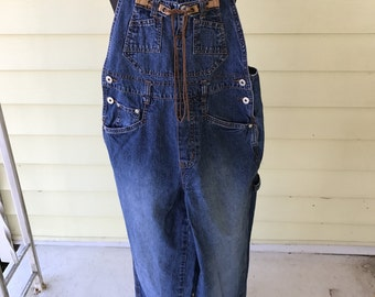 L.A. Blues Denim Overalls/Womens Small/Unique Leather Thong Fringe Tie on Bib/1990s/Grunge/Hipster