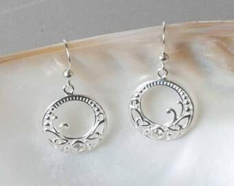 Sterling Silver Celtic Hoop Earrings, Silver Drop Earrings, Circular Silver Earrings, Hoop Dangle Earrings, Celtic Earrings, UK Seller