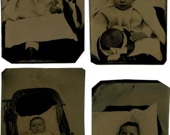 Lot Four Tintypes Little Girl with Hat Baby in Buggy