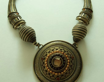 Huge Vintage Brass Metal Ethnic Statement Necklace