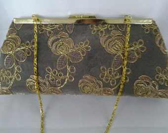 gold black  floral lace clutch wedding evening holiday prom bridesmaid clutch BBsCustomClutches holiday clutch