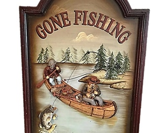 Vintage Gone Fishing |  Fishers Framed Art | Vintage Nautical Wall Hanging | Gift for Dad | Fathers Day Gift