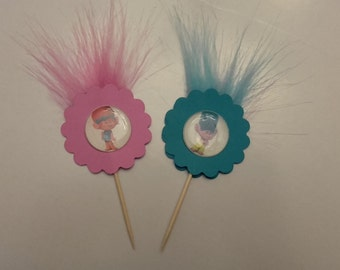 Trolls Cupcake Toppers  In Pink or Blue or Assorted, Cupcake Toppers, Trolls Theme Party,
