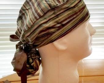 Surgical Cap Ponytail - Brown Stripe