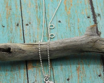 Sterling Silver, Personalized, Stylized, Heart Pendant on a 16 to 24-Inch Sterling Silver Bead or Box Chain