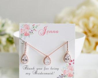 Rose Gold Sets | Bridesmaid Sets | Bridesmaid Gifts | Bridesmaid Earrings | Earring & Pendant Set | Rose Gold Wedding