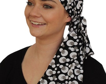 Jessica Pre-Tied Head Scarf, Women's Cancer Headwear, Chemo Scarf, Alopecia Hat, Head Wrap, Head Cover for Hair Loss - Black, White Pearls