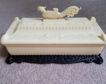 Vintage Ivory tone and black asian dragon plastic storage box