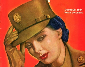 Our Army Magazine 1944  Cover Print Art by Erosen   Tons of Ads  Plus Many Many Military Articles   Soldiers  Nurses  more