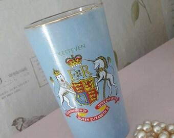 Coronation glass, Queen Elizabeth II glass collectible, blue tumbler, vintage home decor, 1950's royal souvenir, rare Kesteven edition.