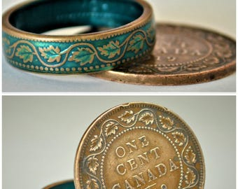 Coin Ring, Turquoise Ring, Vine Ring, Copper Ring, Canadian Penny, Coin Rings, Coin Art,  Floral Ring, Gift for Her, Teal Ring, Unique Ring