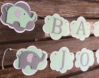 Elephant Baby Shower Banner - Elephant Baby Shower, Elephant Banner, Party Decorations
