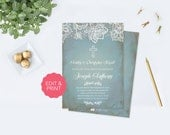 Boy First Communion Invitation, First Communion, Boy First Communion, DIY Invitations, Editable Template First Communion Invitation,