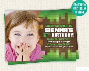 Personalised Birthday Invitation, gamer invite, boy birthday invitation, girl birthday invitation, blocks