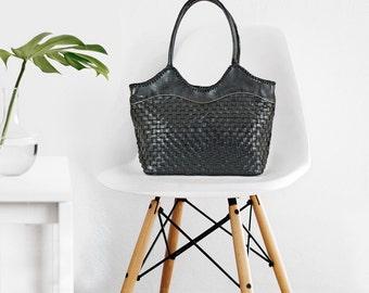 Black leather handbag purse bag - leather work bag - womens bag - handmade leather tote bag - leather purse with zipper - shoulder bag -|hs|