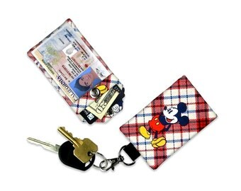 Disney Mickey Mouse Red Blue Plaid Mini Wallet Card Holder Keychain Clear ID Holder Accessory Bag Small Wallet Student ID Badge Credit Card