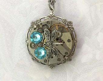 Valentine gift, Steampunk necklace, Teal necklace, Crystal Jewelry, Gift, Sister gift