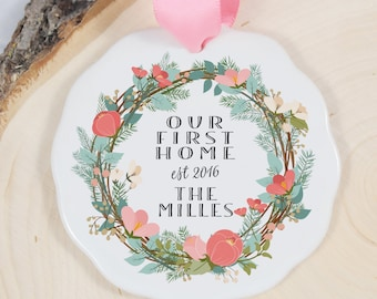 Our First Home Ornament - Porcelain Holiday Ornament - House Warming Gift