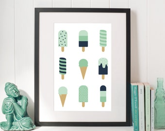 Ice Cream Poster, Kids Poster, Ice Cream Nursery, Nursery Poster, Popsicle Print, Icecream, Kids Room Decor Kitchen Wall Art Ice cream Print
