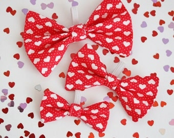 Valentines Day, Red Heart Dog Bow Tie