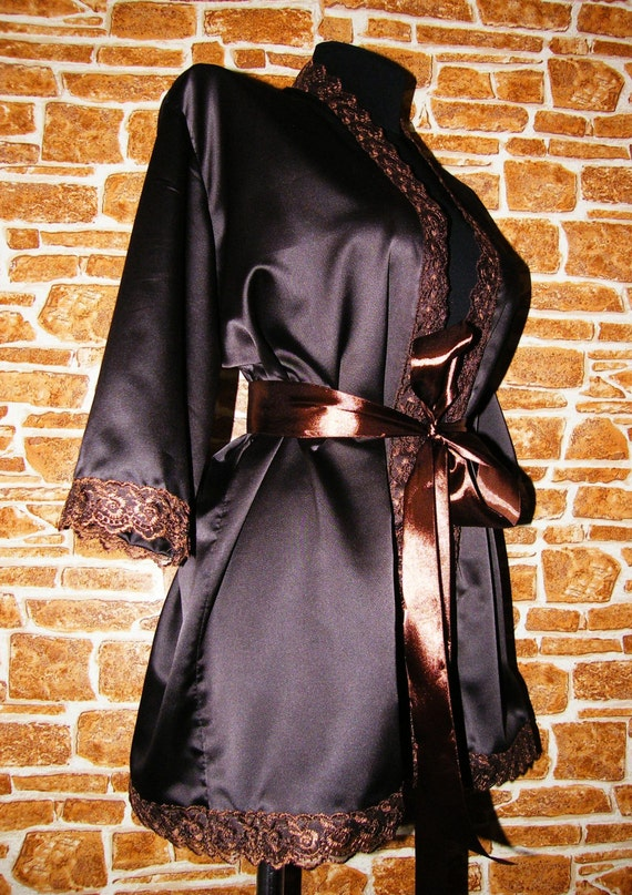 Chocolate Brown Or Gold Satin Peignoir Nightgown Lingerie Robe