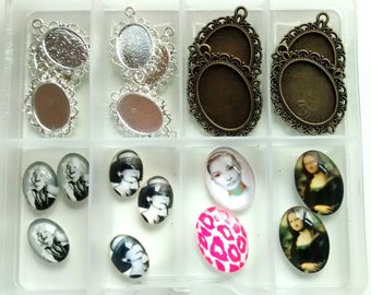 glass cameo cabochons & cameo mount settings - 18x13mm cabs and settings - 25x18mm cabs and settings - jewellery making - decoden crafts